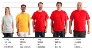 Alstyle Apparel 10oz T-shirt #1301 size lineup