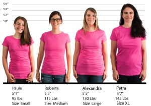 Alstyle Jr. Ladies Sheer Tee #5562 size lineup