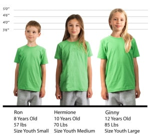 YOUTH American Apparel Fine Tee #2201W size lineup