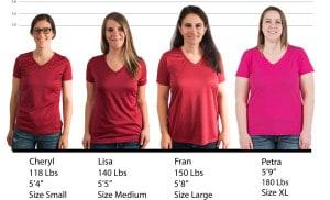 ATC Ladies Performance V-Neck #L3517 size lineup
