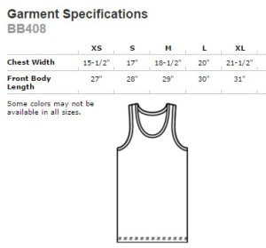 American Apparel Poly-Cotton Tank #BB408W size lineup