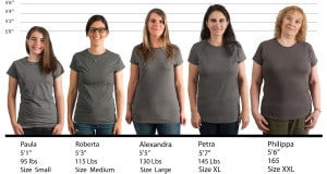 Gildan Ladies Softstyle Fitted Tee #64000L size lineup