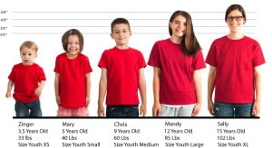 YOUTH Gildan Heavy Cotton #5000B size lineup