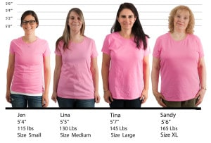 Gildan Ladies Heavy Cotton Missy Fit #5000L size lineup