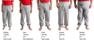 Gildan Hvy No Pocket Sweatpants #18200 size lineup