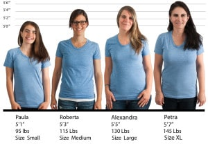 American Apparel Ladies 50/50 Tee #BB301 size lineup