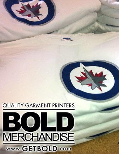 Custom printing winnipeg jets shirts bold merchandise for Vancouver t shirt printing