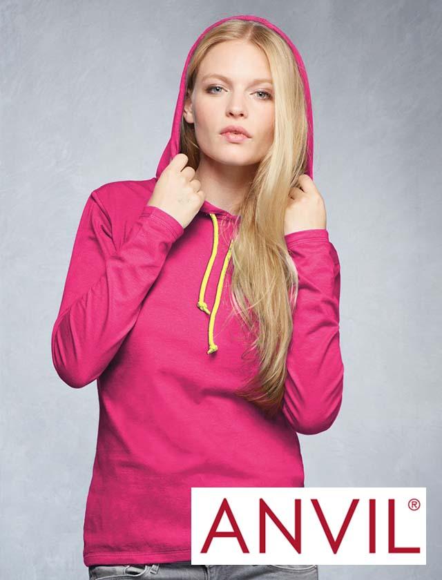 Anvil Ladies Long Sleeve Hood Tee #887L
