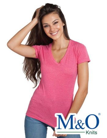 M&O Ladies Fine Blend V-Neck 3542