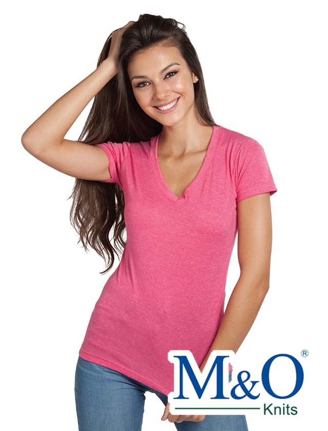 M&O Ladies Fine Blend V-Neck 3540VL