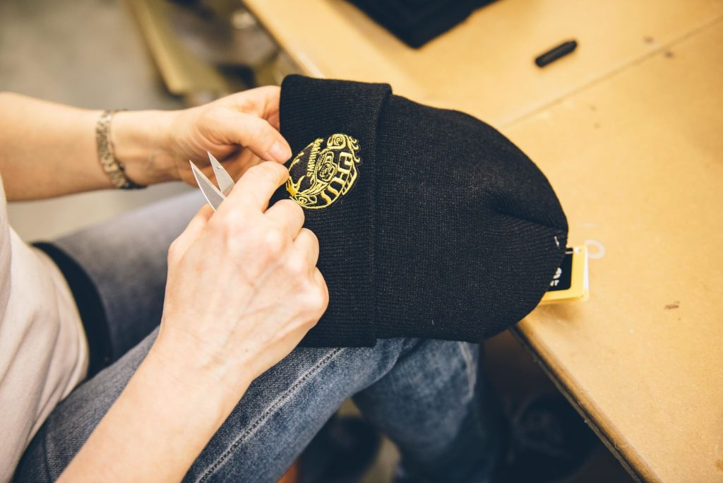 Embroidery on a beanie in process