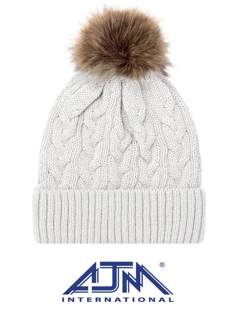AJM Knit Faux Fur Pom Pom Toque #9L594L