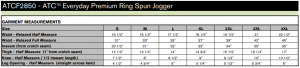ATC Everyday Premium Ringspun Jogger #ATCF2850 size lineup